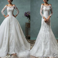New Custom White Lace Long Sleeve Removable Train Bridal Wedding Ball Gown