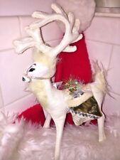 "Rare ELEGANT Gold Silver WINTER WHITE REINDEER Deer ANNALEE Dolls 8"" ▬ 2013 ▬ ❤️"