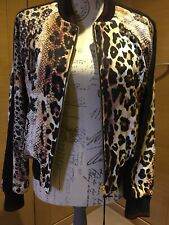 Just Cavalli Ladies  Animal Print Brown/Black Bomber Jacket Size 40 Double Sided