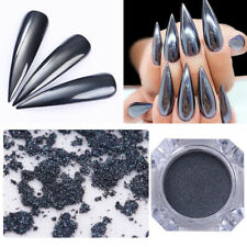 0.5G/Box Mirror Black Nail Powder Nail Art Chrome Pigment Glitter Dust W/ Brush
