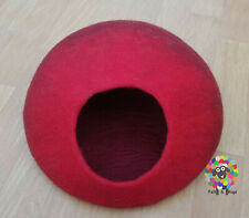 LARGE Felt Cat Cave / Cat Bed / Pet Bed / Puppy Bed / Red Cat House. 100 % Wool