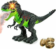 Fire Breathing Simulated Flame Spray Walking T-Rex Dinosaur Toy for Kids - Led