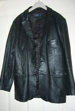 mens black leather jacket size large 3 button fastening 3 front pockets v/good c