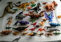 mix Lot of 42 Dinosaur Dino Plastic Animal Toy Figures prehistoric Raptor T-Rex