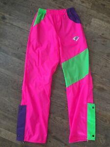 Vtg 80s 90s Pink Nylon Snow Pants Mens 36 Ski Snowboard Wild Crazy Colors Skiing