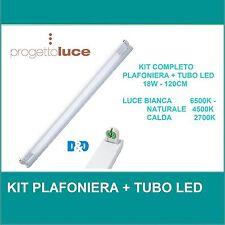 KIT NEON LED T8 PLAFONIERA + TUBO LED LUCE FREDDA CALDA NATURALE 120CM = 36W LED