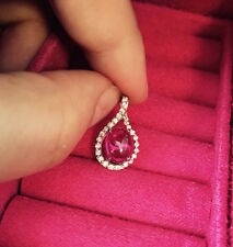 """1.2CT Red garnet Drop Diamond necklace 18""""Chain Solid S925 Sterling Silver-#125"""