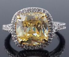 5 ct Yellow Cushion Halo Cocktail Party Ring 925 Sterling Silver Statement Gift
