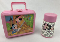Vintage Aladdin 1988 Mickey And The Dragon Pink Lunch Box With Thermos Minnie
