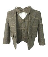 Kids Baby Boys Tan Brown Herringbone Check Tweed 5 Piece Suit Peaky Blinders