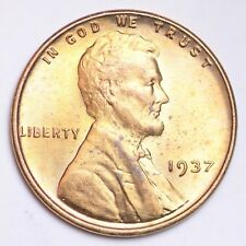 New listing 1937 Lincoln Wheat Small Cent Choice Bu Free Shipping E145 T