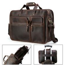 """Men's 17.3"""" Laptop Briefcase Leather Messenger Shoulder Bag Business Travel Tote"""