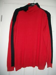 M&S X/LARGE RED & NAAVY RELAXED POLO NECK JUMPER