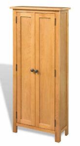 Tall Slim Cabinet Cupboard 6 Shelves Storage Unit 2 Doors Solid Oak Furniture