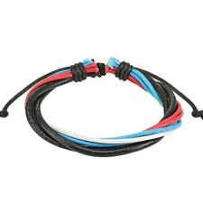 1 Rot White Blue Black Leather Bracelet 190 - 250 mm NEW Jewellery from coolbody