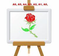 Single Rose, for my True Love Stencil, 350 micron Mylar not thin stuff #FL015