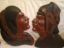 Bolivia Aymara Wooden Wood carved Face Plaques man woman profile picture brown