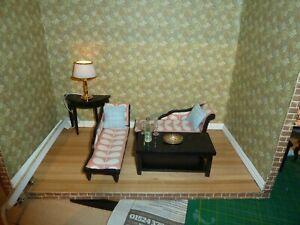 DOLLS HOUSE MODERN RETRO ORLA KIELY ROOM SETTING, LIGHTS UP, OOAK