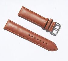 22mm Quality Genuine Leather Padded Dark Tan Watch Band with 2 Spring Bars