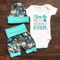 US Stock Newborn Baby Boys Girl Romper Pants Bodysuit Sunsuit Outfit Set Clothes