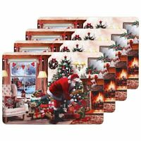JOLLY SANTA CHRISTMAS PLACEMATS boxed set of 4 Place Mats gift boxed red white