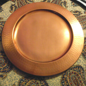 """4 LOVELY 13"""" SOUTHERN LIVING COPPER CHARGERS MADE IN INDIA DIST. BY DILLARDS"""