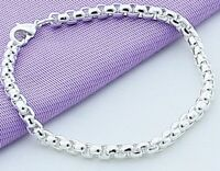 "925 Sterling Silver Bracelet Womens Small 7"" Round Box Link Chain +GiftPg  D472S"