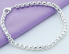 "925 Sterling Silver Bracelet Womens Small 6 1/2"" Box Link Chain +GiftPg  D472S"