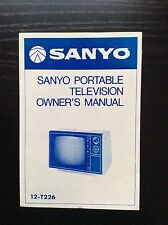 SANYO PORTABLE TELEVISION OWNER'S MANUAL  12-T226 + SCHEMATIC DIAGRAM  1977