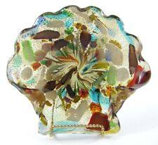 MURANO ART GLASS Bowl Candy Dish Bowl Multi Color Gold Fleck Flakes Shell 1950's