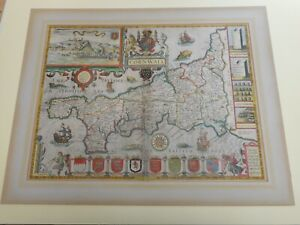 100% ORIGINAL LARGE CORNWALL  MAP BY JOHN SPEED C1627  HAND COLOURED VGC
