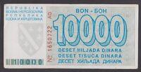 BOSNIA  10000 Dinara 1993  VF+  P28a  Siege of SARAJEVO  Serial No 1650722 AG