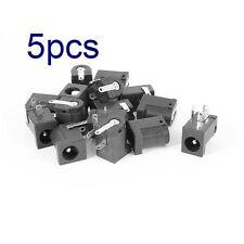 5x  Plastic DC Power Jack Socket Solder Female Coupler Black 5.5mm x 2.1mm o