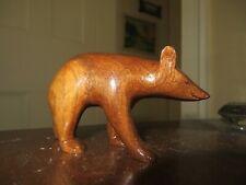 vintage carved wood bear Cherokee signed