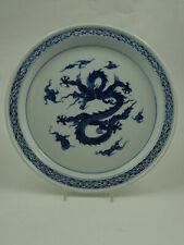 Fitz & Floyd Flying Dragon Dinner Plate Under Glaze Blue Weave Border