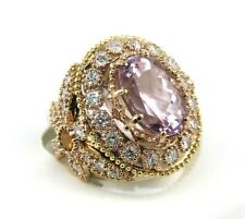 Oval Pink Kunzite & Diamond Solitaire Ring 14k Rose Gold 13.62Ct