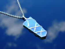 Opalite Wrapped Flat Manmade Gemstone Pendant Necklace 50cm Healing Stone