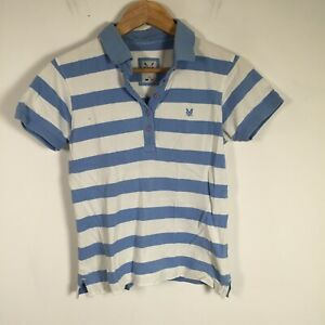 Crew Clothing womens polo shirt size 10 white blue striped short sleeve collared
