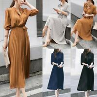 Womens Long Sleeve Long Dress Ladies Beam Waist Big Swing Pleated Dresses US