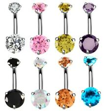 Navel Belly Bar Piercing Ring Crystal Zircon Surgical Steel Silver Jewelllery