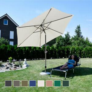Alu Sonnenschirm Ø270cm Marktschirm + Handkurbel Schirm Gartenschirm neigbar