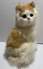 Vtg Real White Fur Cat Figurine Toy Kitty Souvenir