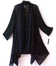 NEW~Black Flocked Velvet Lace Duster Cardigan Tunic Kimono Plus Top~22/24/2X
