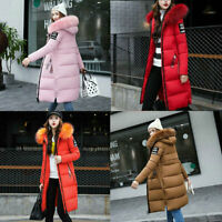 Coat Ladies Hooded Jacket Winter Puffer Fur Womens Quilted Parka Down Long Warm