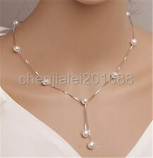 Real 7-8mm Natural Pearl Tassel pendant Necklace 925 sterling silver