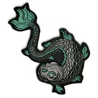 Large 11 inch Koi demon patch, iron on or sew on, Tattoo style, shipped from USA