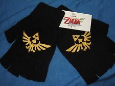 NWT Black The Legend of Zelda Gold Triforce Fingerless Gloves Nintendo Nes Game