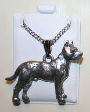 Pit Bull Terrier Pitbull Fine Pewter Pendant w Chain Necklace USA Made