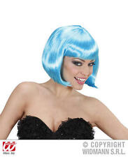 Ladies Deluxe Neon Blue Bob Wig Sexy Secretary Lady Gaga Fancy Dress
