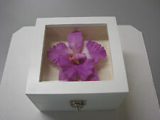 Purple Color Orchid Flower in White Lacquer Jewelry Box